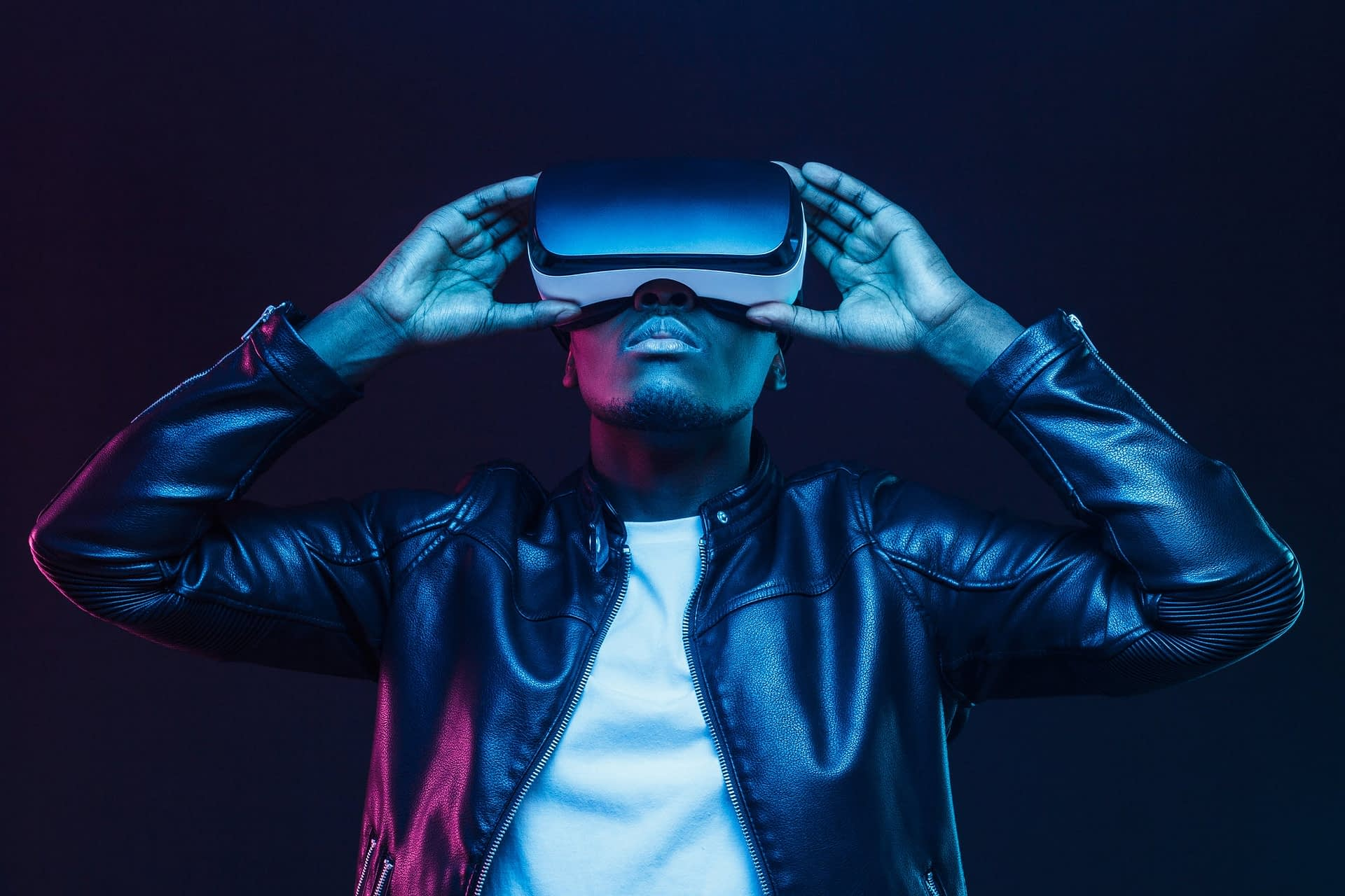 man with video vr headset